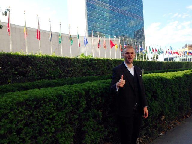 Jesse Outside the UN Building