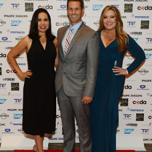 """LAS VEGAS, NV - SEPTEMBER 24:  Fox 5's Maria Silva, Sean McAllister and Rachel Smith arrive the """"Imagine A World Without Cancer"""" Gala at the Fours Seasons Hotelon September 24, 2015 in Las Vegas, Nevada.  (Photo by Denise Truscello/WireImage) *** Local Caption *** Maria Silva; Sean McAllister; Rachel Smith; Fox 5"""
