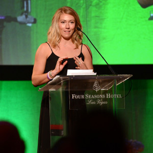 """LAS VEGAS, NV - SEPTEMBER 24:  Mikaela Shiffrin speaks at the """"Imagine A World Without Cancer"""" Gala at the Fours Seasons Hotelon September 24, 2015 in Las Vegas, Nevada.  (Photo by Denise Truscello/WireImage)  *** Local Caption *** Mikaela Shiffrin"""